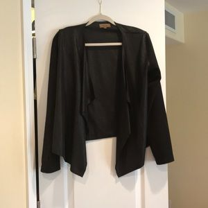 Faux leather black sweater